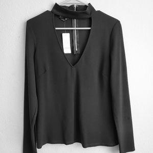 Bebe women's long sleeves top, v- neck, L